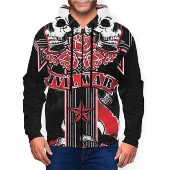 パーカー Guns N' Roses メンズフード付きジップシャツ メンズ パーカー ジッパーシャツ スポーツウェア カジュアルセーター 長袖 おしゃれな