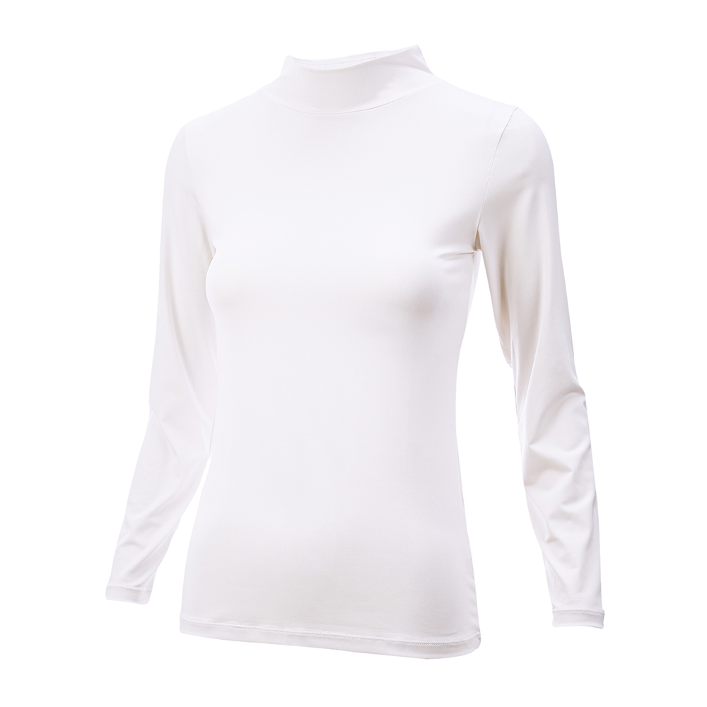 [ATUM]女立領遠紅外線保暖發熱衣-白
