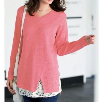 49%OFF【レディース大きいサイズ】 裾フェイクVネックチュニック - セシール ■カラー:ピンク ■サイズ:3L,4L,5L,6L