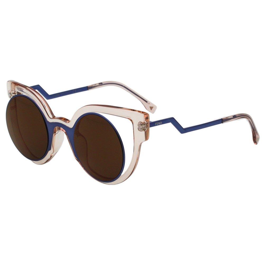 FENDI-時尚造型 太陽眼鏡 (透明粉+藍色) FF0137S