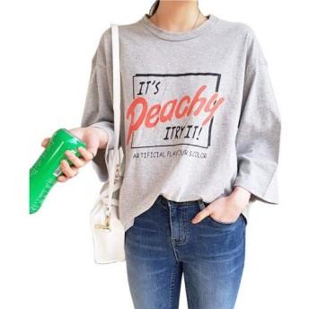 (イイネショップ) eeNeshop ワイド長袖Tシャツ コットン シンプル デーリー カジュアルトップス ゆったり 春 通学 可愛い プリントカットソー レディース カジュアル コットン FREE