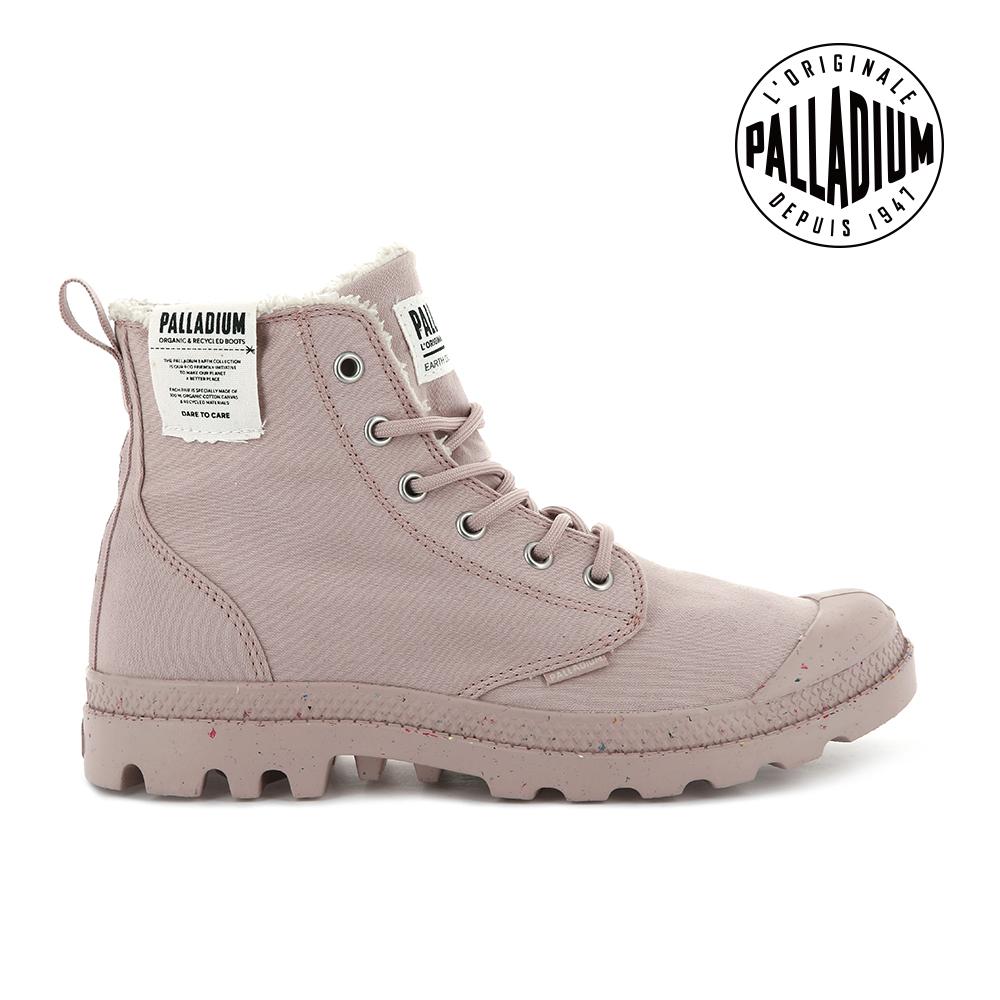 PALLADIUM PAMPA EARTH絨毛有機帆布靴-中性款-玫瑰粉