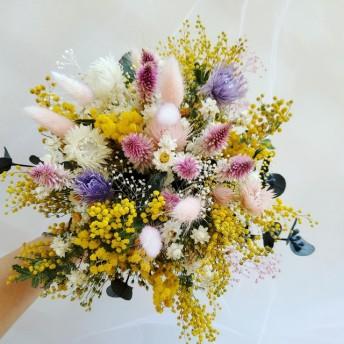 春の訪れ ミモザと小花 かすみそう クラッチブーケ ドライフラワー 結婚式