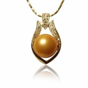 【小樂珠寶】甜美元素設計女孩-南洋深海貝珍珠墜鍊