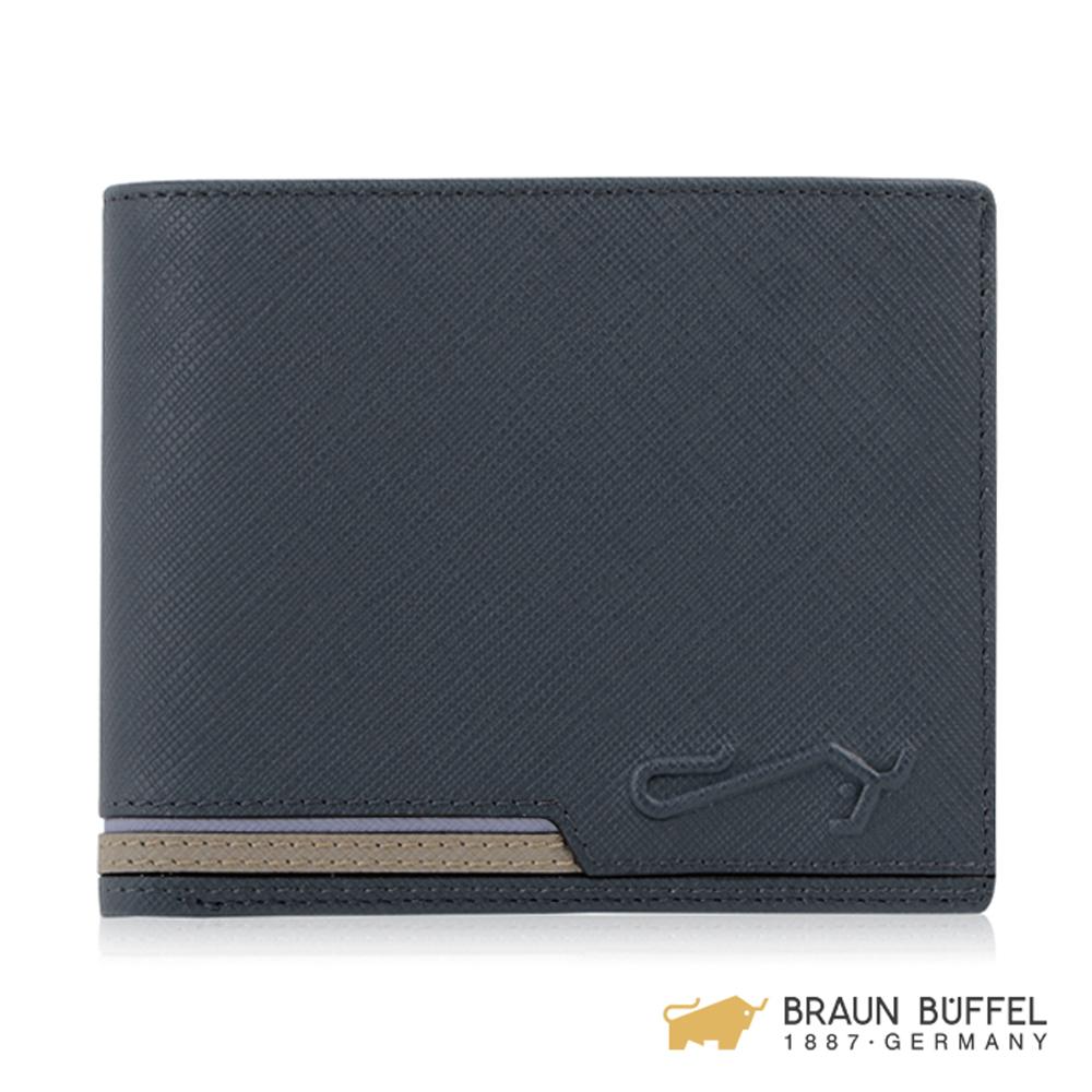 BRAUN BUFFEL 大富翁系列4卡零錢袋皮夾 -藍色 BF350-315-NY