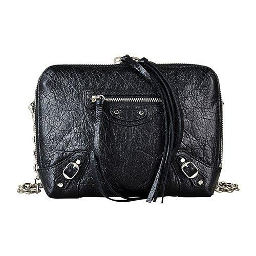 BALENCIAGA巴黎世家經典銀釦小羊皮鏈帶拉鍊斜背包(黑)