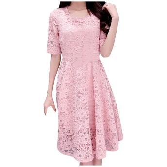レディース ワンピース 大きいサイズ ドレス 刺繍 レース 花柄 春服 カジュアル クルーネック オフィス 刺繍 レース 花柄
