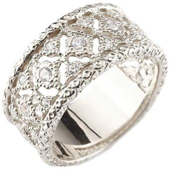 幅広 ダイヤモンド リング ゴージャス 指輪 アンティーク 透かし ホワイトゴールド 18金 ピンキーリング レディース 15