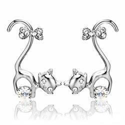 【GIUMKA】耳環 優雅俏貓咪耳釘耳環(銀色白鋯)