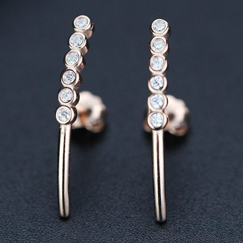 愛的迫降孫藝珍同款耳環長條形鋯石氣質耳釘耳飾水鑽S925純銀