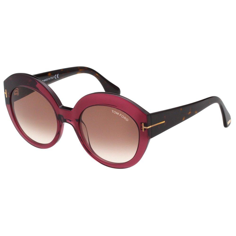 TOM FORD 復古圓框 太陽眼鏡-紫紅色-TOMTF533