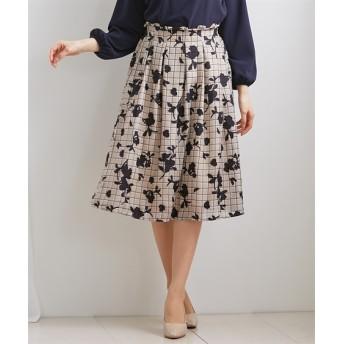花柄プリント×チェック柄がかわいいフレアスカート (ひざ丈スカート)Skirts