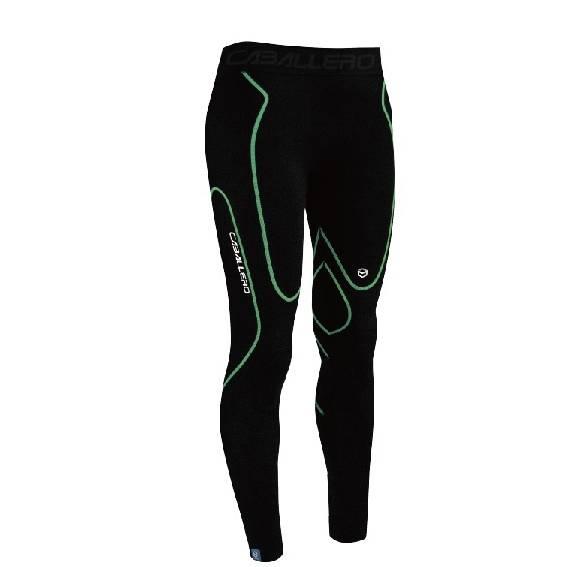 [CABALLERO] 男款一體成型高機能壓縮褲_黑/綠 S
