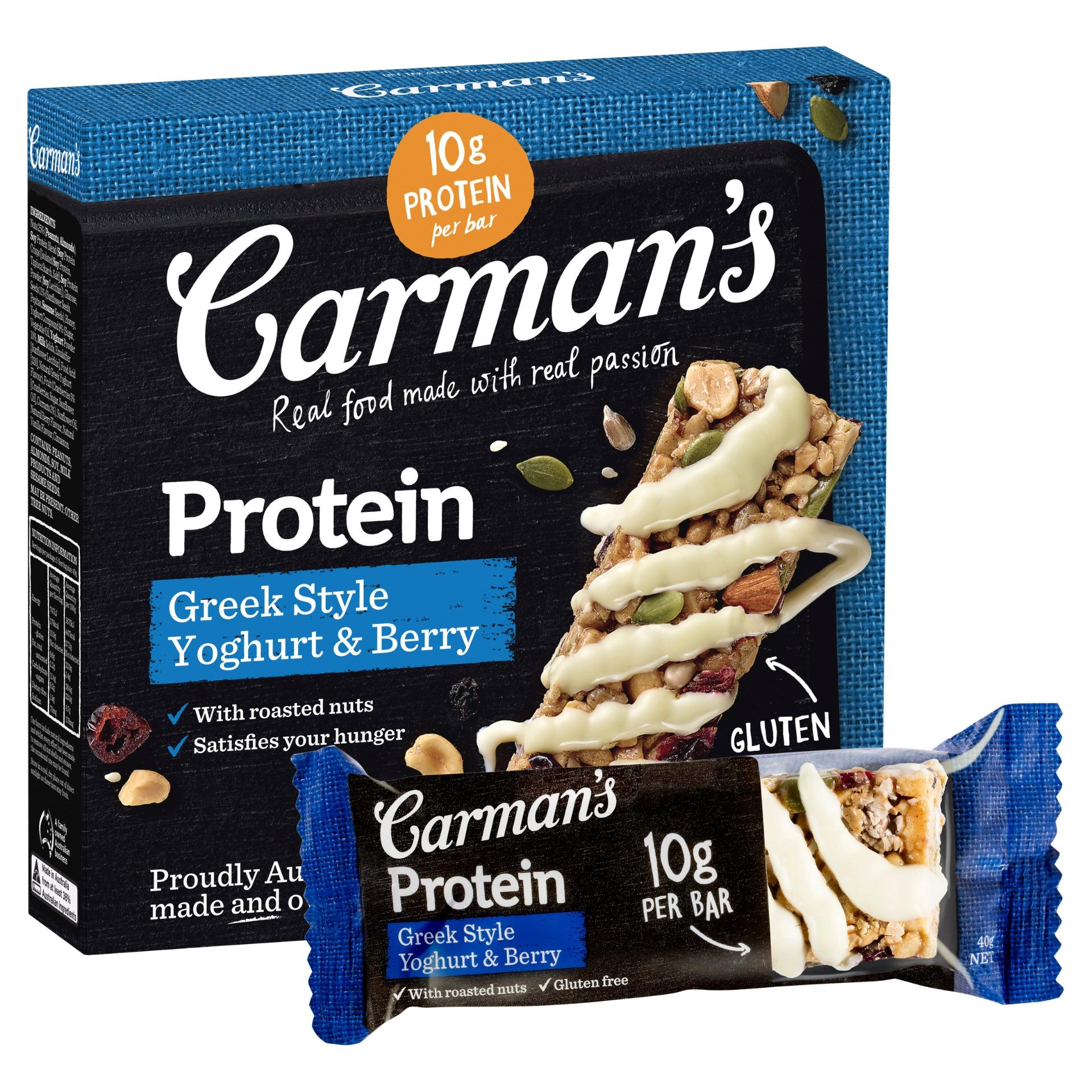 [澳洲 Carman's] 莓果希臘優格蛋白質棒 (5條/盒)