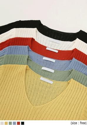 韓國空運 - 微透膚 素色V領麻花針織上衣(6色) 針織衫