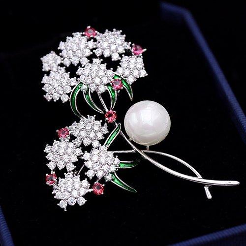 Olivia 華麗彩鑽寶石鏽球花別針 鑲鑽胸針 飾品 配件 母親節 送媽媽 送禮 附包裝