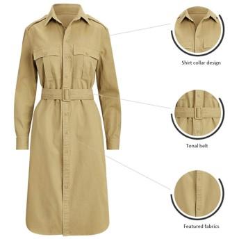 ワンピース・チュニック 春と夏の英国のトレンチコート新しいブラウススタイルのドレスミドル丈の薄いセクションファッションジャケットスカートヨーロッパスタイル (Color : Khaki, Size : S)