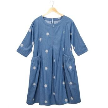 【20春夏】デニム 総刺繍ギャザーポケット チュニックワンピース (ワンピース)Dress
