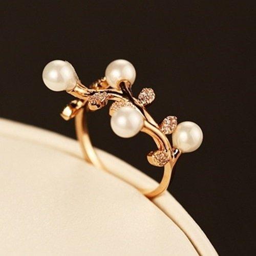 【米蘭精品】玫瑰金戒指鑲鑽銀飾(珍珠優美生日情人節禮物女飾品73by38)