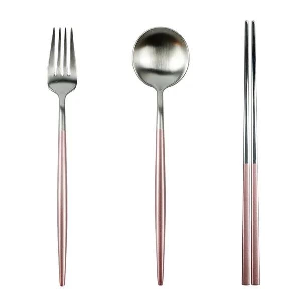[CALDO] 玫瑰光影不鏽鋼環保餐具組-銀光