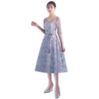 レディース春メッシュVネックスパンコールロングディナーパーティーイブニングドレス (Color : A, Size : XL)