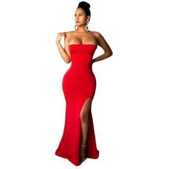 WDSFT 女性のイブニングドレスドレスチューブトップスプリットフィッシュテイルカクテルカクテルドレス春2020新 (Color : Red, Size : XXL)