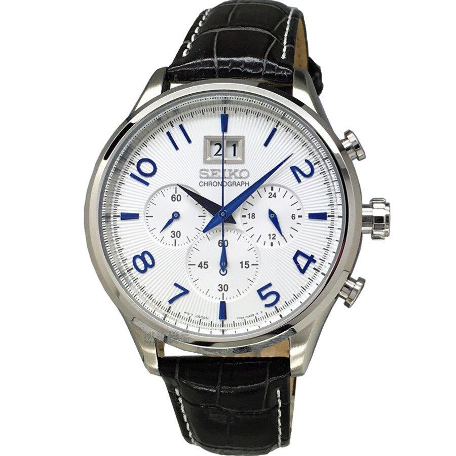 SEIKO 精工表 SPC155P1 金屬藍時標 大日期 深灰色壓紋皮帶 男錶【錶飾精品】