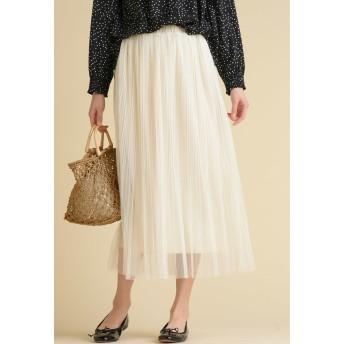 MAYSON GREY 【socolla】チュール消しプリーツスカート その他 スカート,オフホワイト