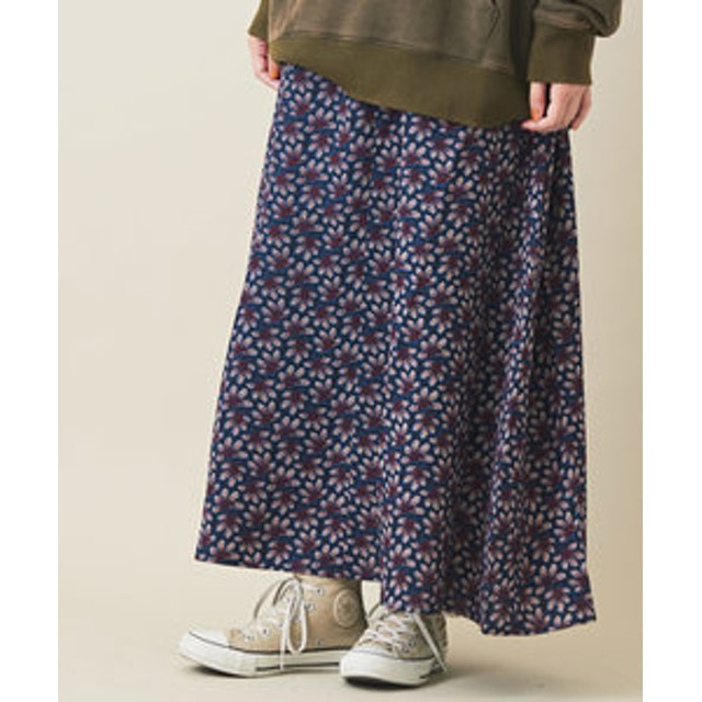 【CUBE SUGAR:スカート】リーフプリント ギャザースカート