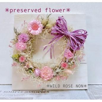 【母の日】プリザーブドフラワー*リース*ナチュラルアイボリー&ピンク