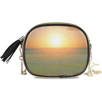 KAPANOU レディース チェーンバッグ,夕日の牧歌的なビーチの風景印刷,ミニファッションかわいいデザインショルダーバッグパーソナライズされたカスタムの異なるスタイルの色