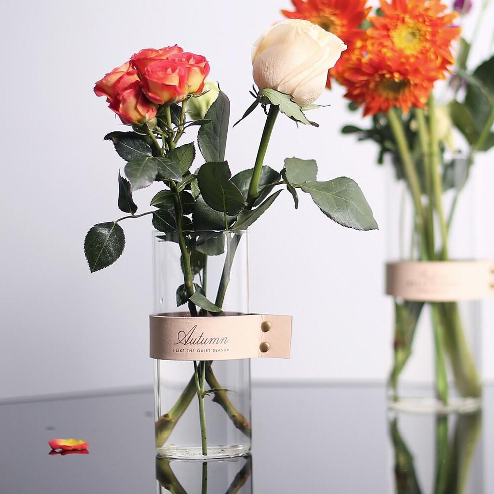 幸福小舖直身花瓶 水培玻璃花瓶 裝飾房間 插花 仿真花 乾燥花 玻璃花器 花瓶 (大中小-2色)