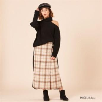 スカート チェック柄 バックプリーツラップスカートレディース ボトムス スカート
