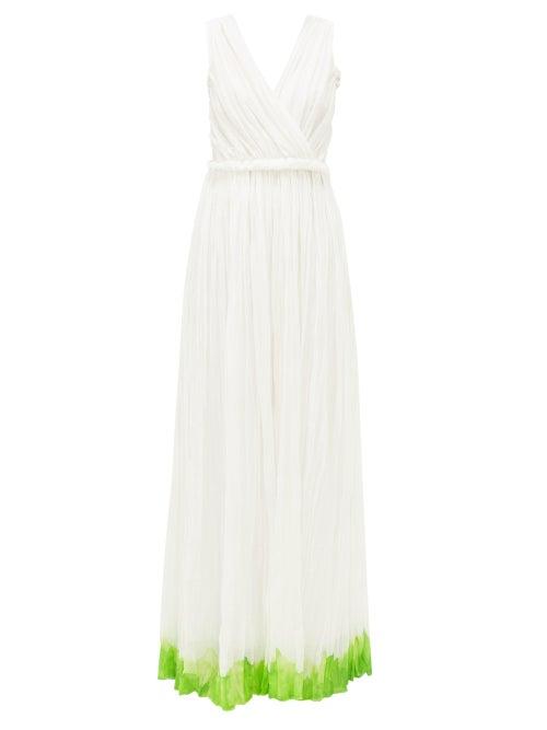 Vika Gazinskaya - Goddess Painted-hem Cotton-blend Batiste Dress - Womens - White