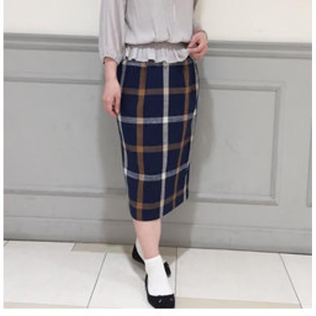 【FREDY & GLOSTER:スカート】麻混チェックロングタイトスカート