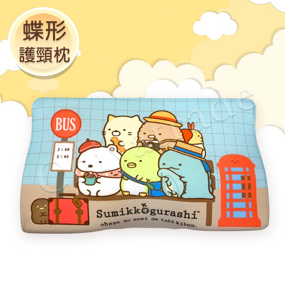 【角落小夥伴】慢回彈蝶形護頸枕 記憶枕 兒童枕 釋壓枕 50x30cm(枕套可拆洗)-出遊候車中