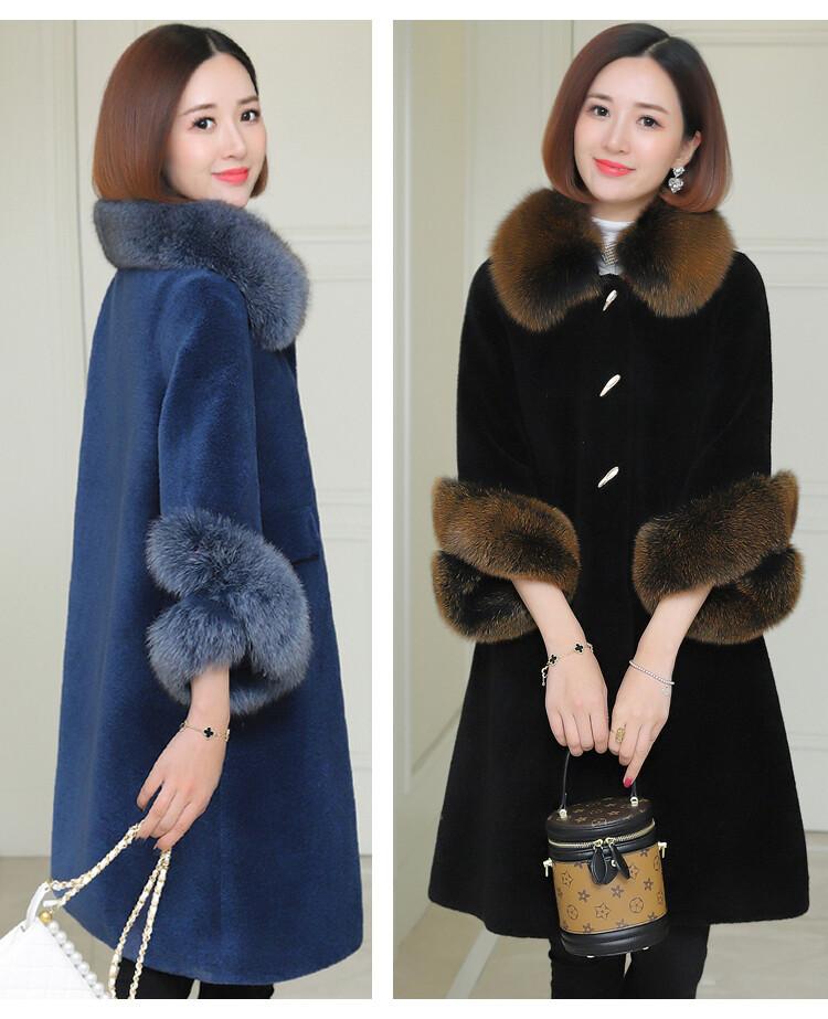 時尚優質人造羊絨狐狸毛大衣