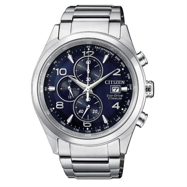 CITIZEN 星辰錶 CA0650-82L 商務時尚光動能計時鈦金屬腕錶 /藍面 43mm