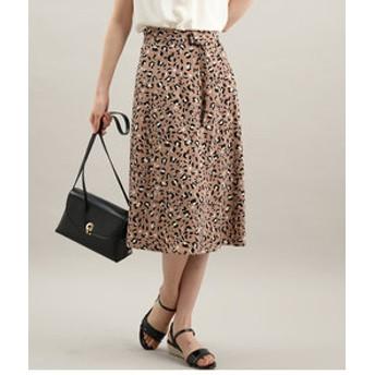 【ViS:スカート】レオパード柄ナロースカート