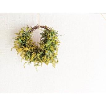 自家栽培ハーブの花粉落ちないミモザの蕾の素朴ハーフリース♪