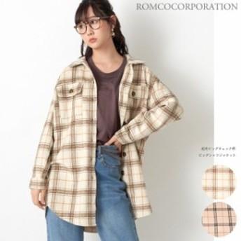ジャケット 起毛ビッグチェック柄 ビックシャツジャケットレディース アウター ジャケット 秋冬 チェック ジャケット オーバーサイズ