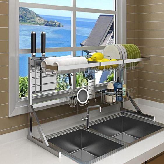 不銹鋼晾碗水槽架瀝水架廚房置物架用品2層收納架水池放碗架碗櫃