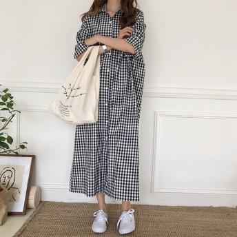 韓国ファッション チェック柄ワンピース