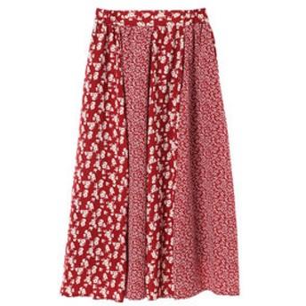 【Green Parks:スカート】・フラワーパッチワーク切替スカート