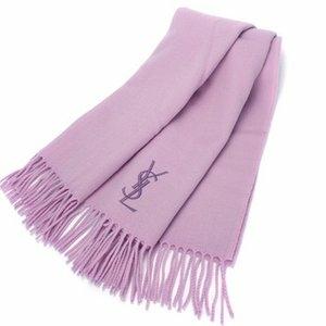 YSL 刺繡LOGO保暖羊毛披肩-粉紫色   989208-65