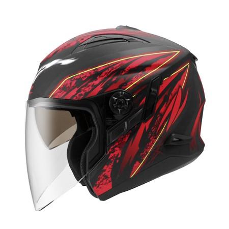 ZEUS 瑞獅 ZS-613B AJ5 3/4罩式安全帽  消光黑紅