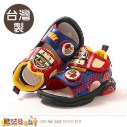 魔法Baby 男童鞋 台灣製POLI正版羅伊款閃燈涼鞋 電燈鞋~sa01102