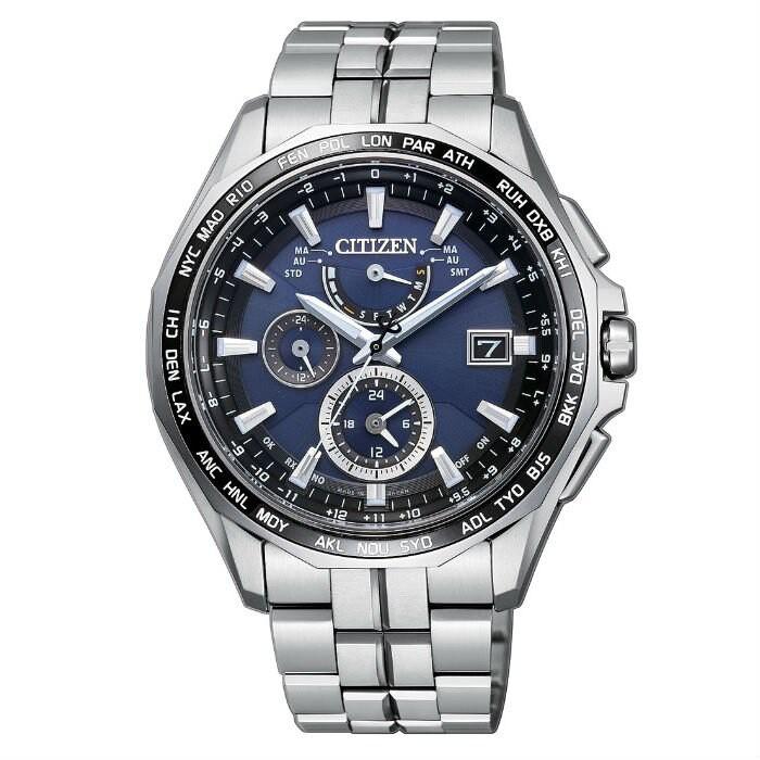 CITIZEN 星辰錶 AT9090-53L 旗艦電波光動能鈦金屬多功能時尚腕錶 /藍面 43mm
