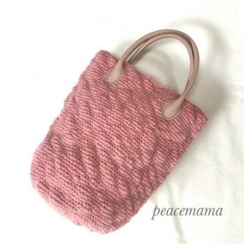 《送料無料》サーモンピンクの春色バケツ型バッグ