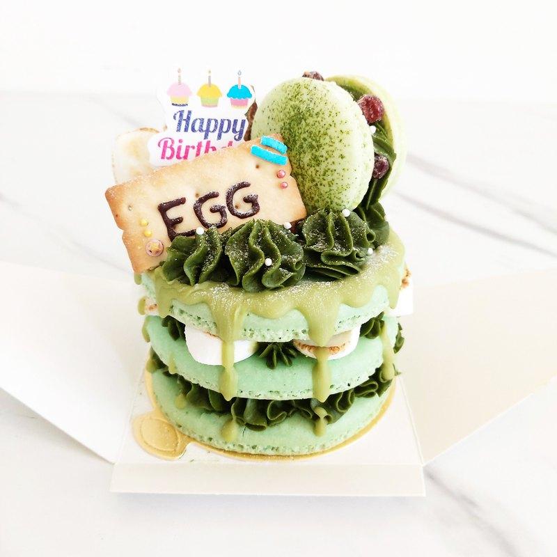 3.5吋馬卡龍塔-雙抹茶紅豆烤棉花糖  生日禮物、可當生日蛋糕慶生